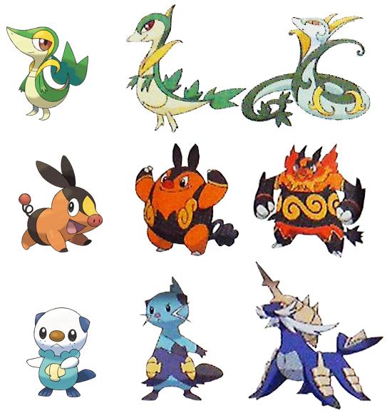 Pokemon Black and White Starters Evolutions