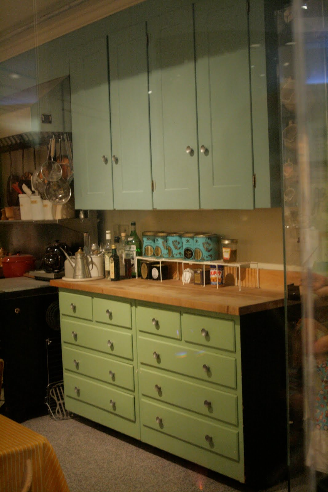 Green Stained Kitchen Cabinets