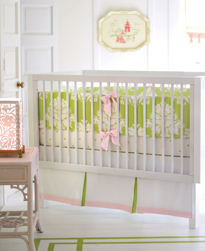 Nursery notations pink green nursery bedding for Serena and lily baby girl bedding