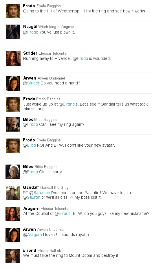 Lord of the Rings in Twitter form 2