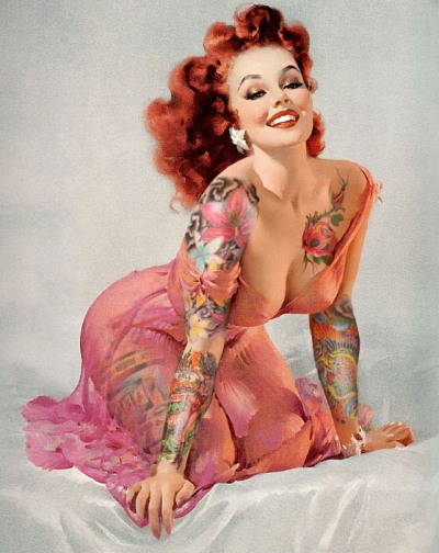 pin up girls tattoo. –Tattooed Pin Up girl by