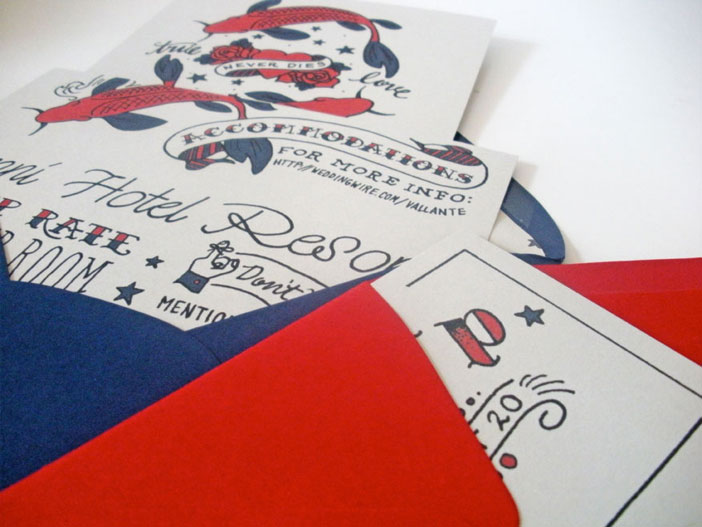 Curioser and Curioser Tattoo Wedding Invitation by Faye and co
