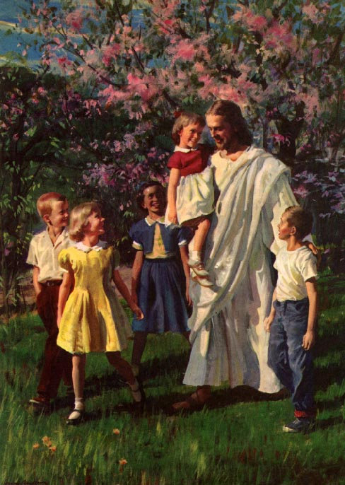 paintings of jesus with children. poster Jesus with Children