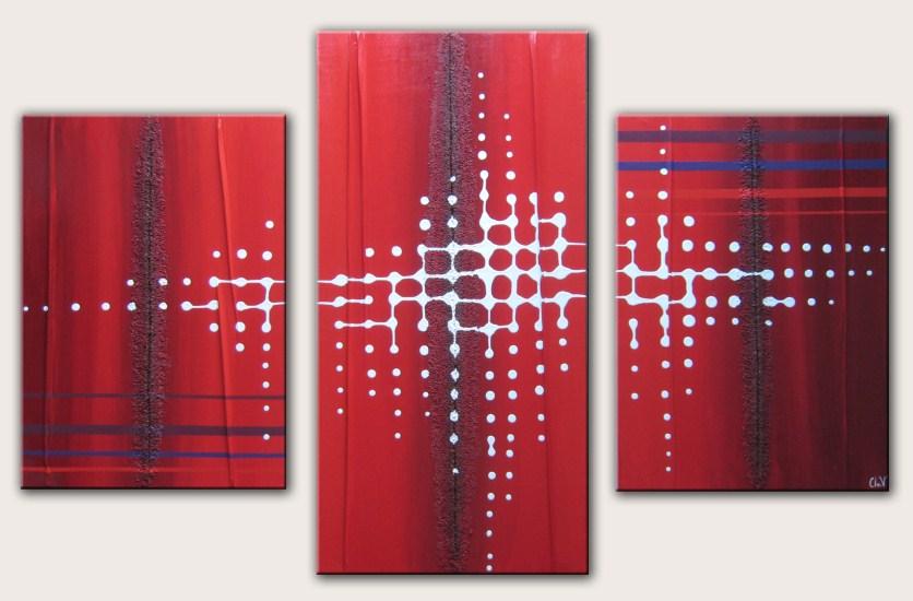 tableau contemporain par clo v tableau contemporain rouge et pixel n 40. Black Bedroom Furniture Sets. Home Design Ideas