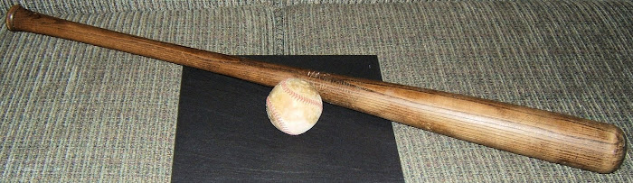 BALL AND BAT FROM 1953 CHAMPIONSHIP GAME