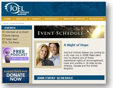 Example of a Calendar of Events