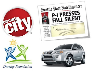 Image of Circuit City, SeattlePI, Destiny Foundation, and Saturn whom all are out of business