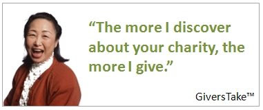 Givers Take Image, The more I discover about your charity, the more I give.