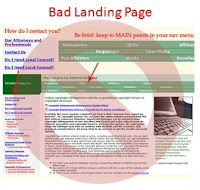 Image of a poorly designed landing page