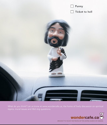 Image of a bobble head Jesus doll advertisement
