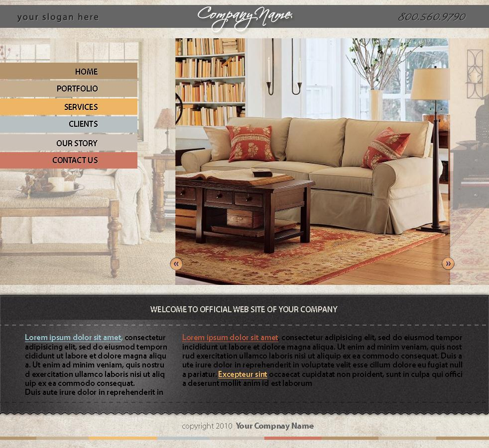 Interior Design Homepage Template Design Dezignation