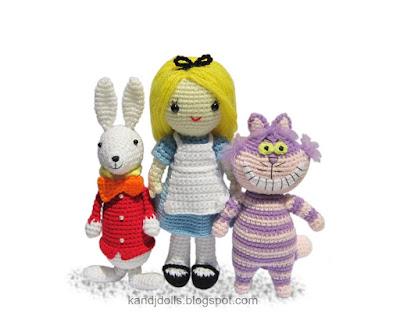 Alice in Wonderland crochet pattern set