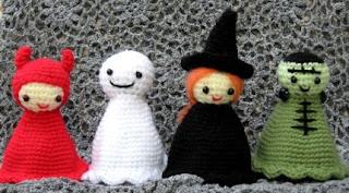 Amigurumi witch, devil, ghost and frankenstein