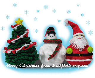 Santa Claus and snowman plus Christmas tree amigurumi pattern