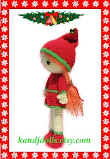Chrstmas girl amigurumi crochet pattern