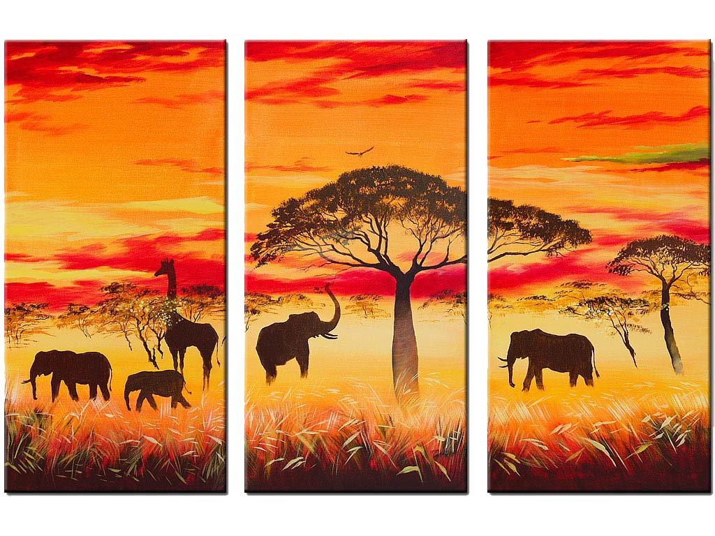 African Sunset Paintings | landscape AFRICAN SUNSET II Painting ...