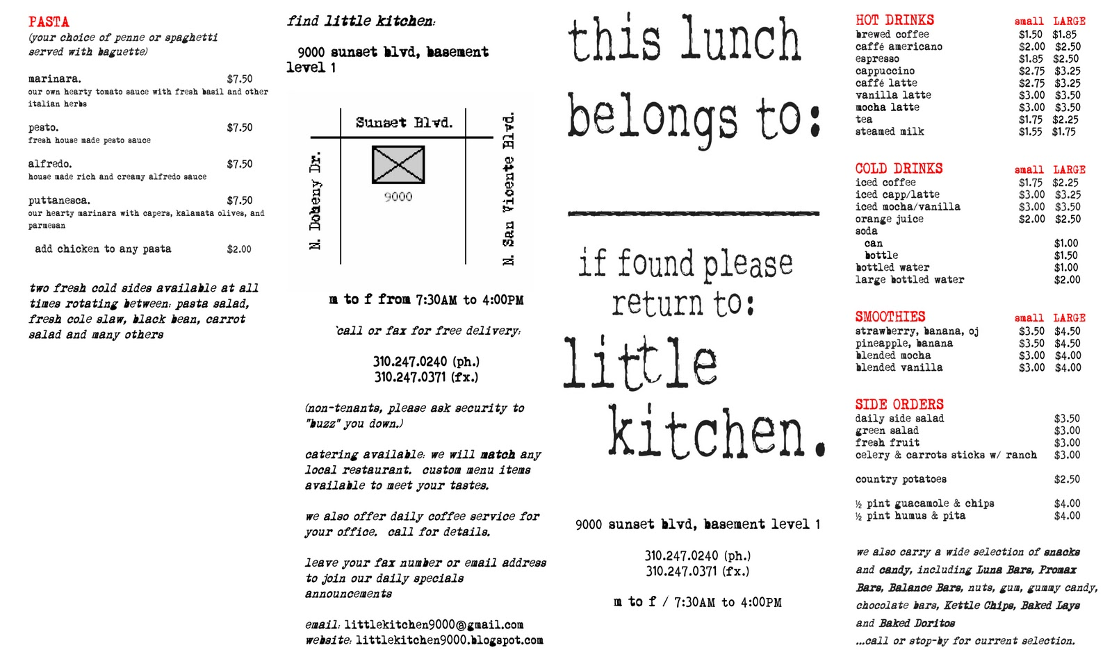 Little Kitchen Menu Exterior