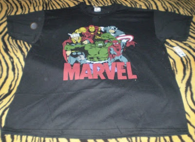 Marvel t-shirt featuring Thor, Iron Man, Captain America, Spider-Man and the Hulk