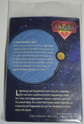 back of McDonald's Lightning Lad trading card