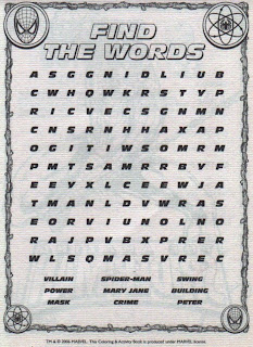 Find the Words puzzle page from Amazing Spider-Man Giant Activity Pad