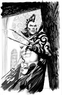 Black and white Daken: Dark Wolverine #2 cover artwork by Mike Meyhew