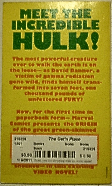 Back cover of The Incredible Hulk video novel