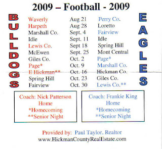 Hickman County Bulldogs and East Hickman Eagles Football Schedule provided by: Paul Taylor, Realtor