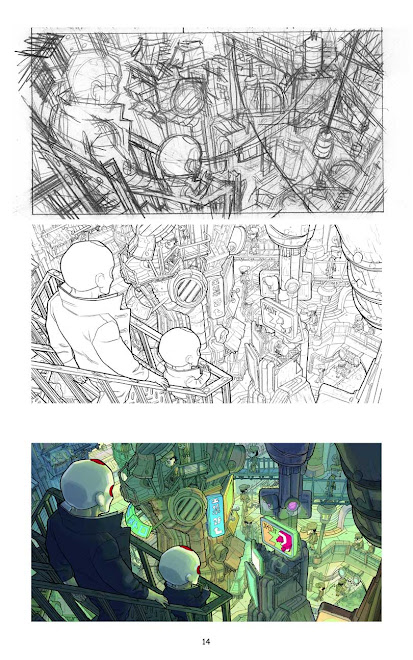 step by step for one comic book frame.