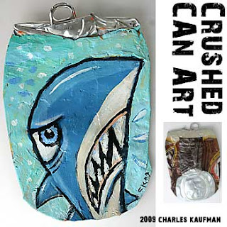 Crushed Can Art,Shark,kaufman,upcycle,recycle