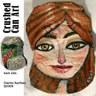 crushed can art,upcycle,charles kaufman,painting