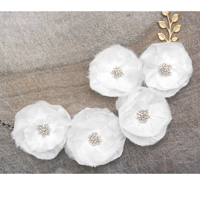 Persephone's White Silk Flowers Necklace