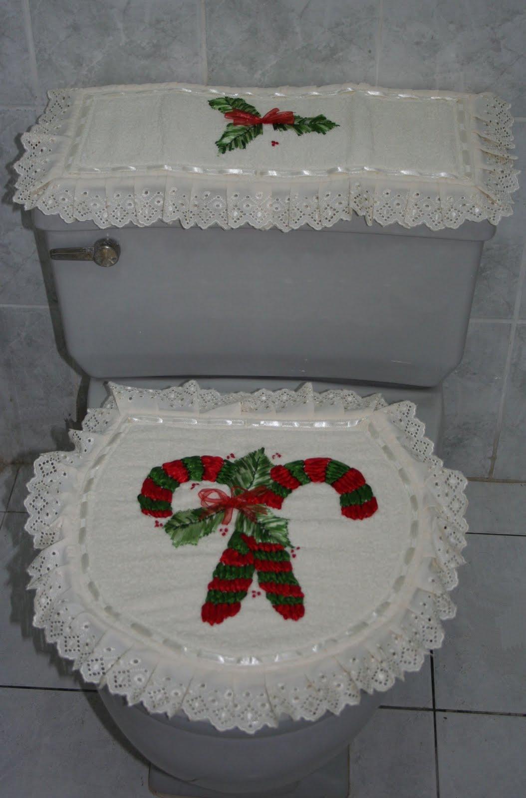 Baño Navideno Navidad:Hermoso juego de baño bordado a mano con cintas de seda, con motivo