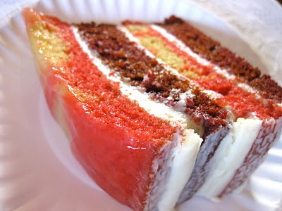 slice of fire cake, a marbled red velvet cake