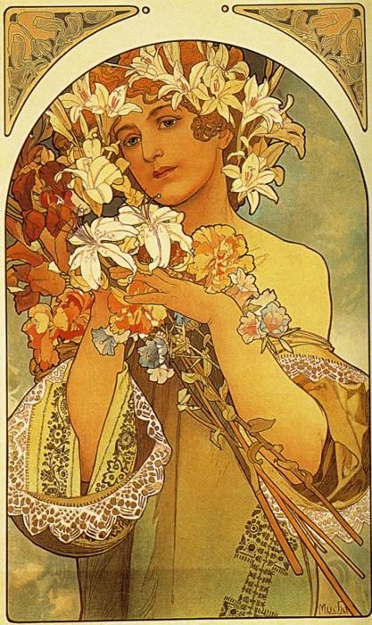 Alphonse Mucha Art Gallery: Alphonse Mucha art: Flower. 1897.