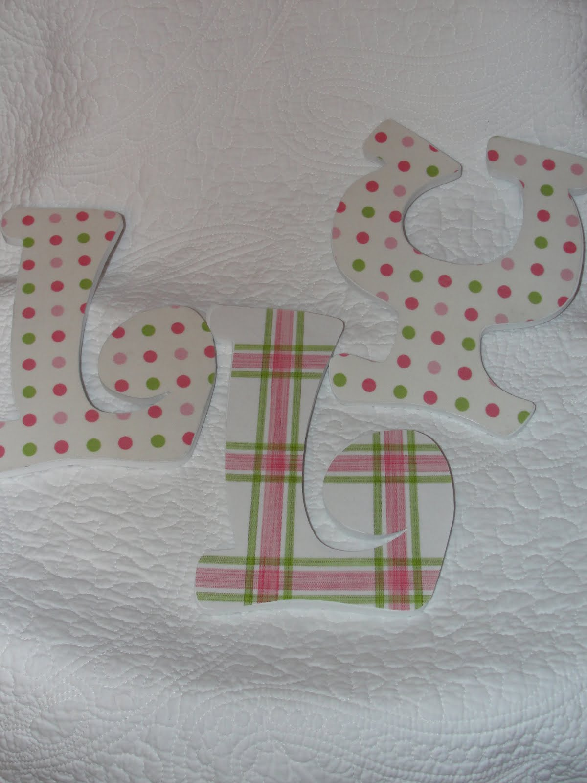 imperfectly beautiful fabric covered letters and a