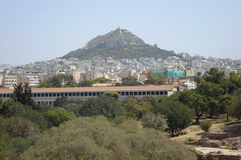 View across the ancient agora to Lycebettus