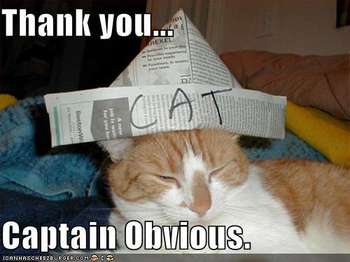 Thank you, Captain Obvious