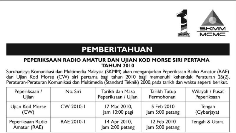 9m2pju  cara mendapatkan lesen radio amatur di malaysia