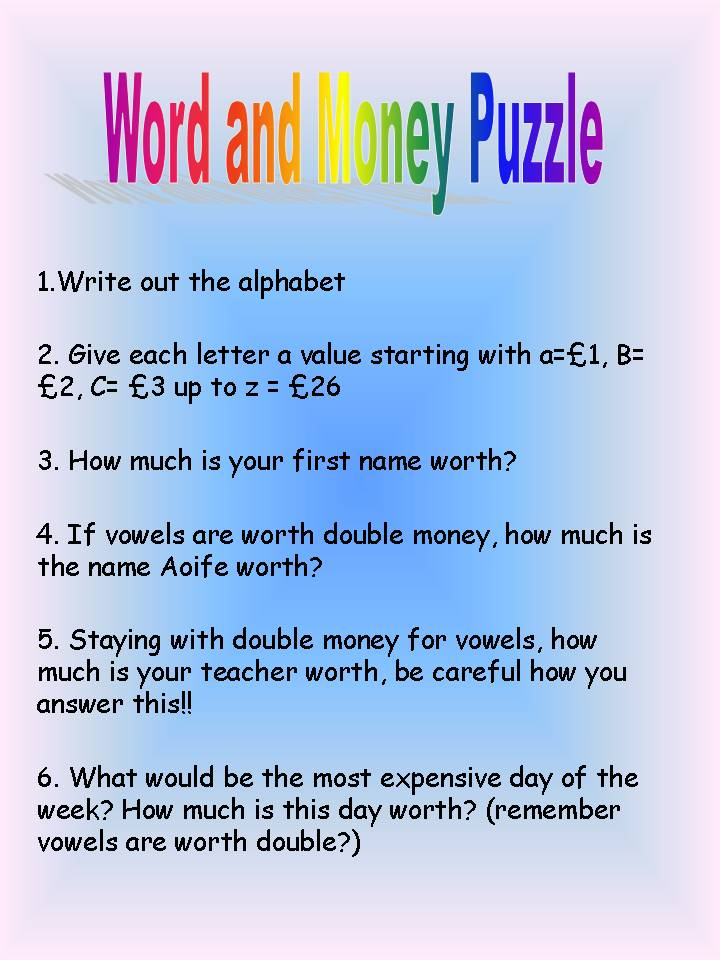 Fun and Math: Word and Money Puzzle