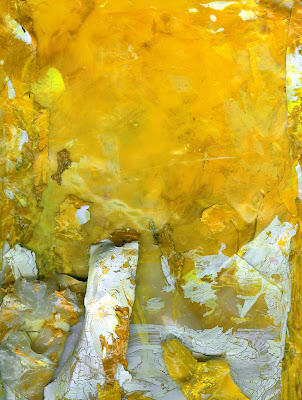 contemporary abstract yellow acrylic sheet painting by Tiffany Gholar