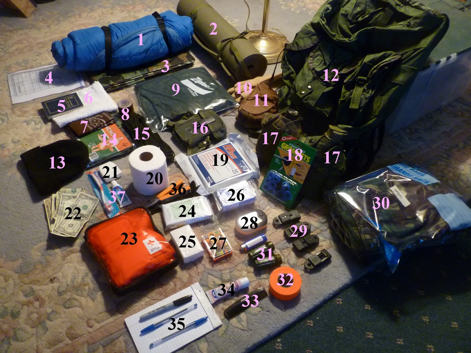 Bug Out Bag Contents Bug out Bag inventory ...