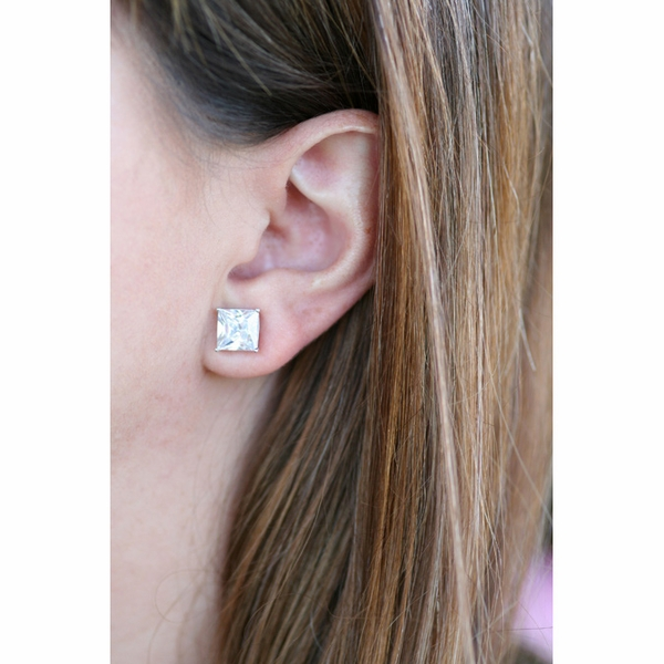 Let These Princess Shape Imitation Diamond Stud Earrings Do The Talking For You