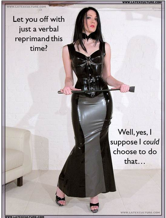 femdom caption mistress with riding crop considering punishment
