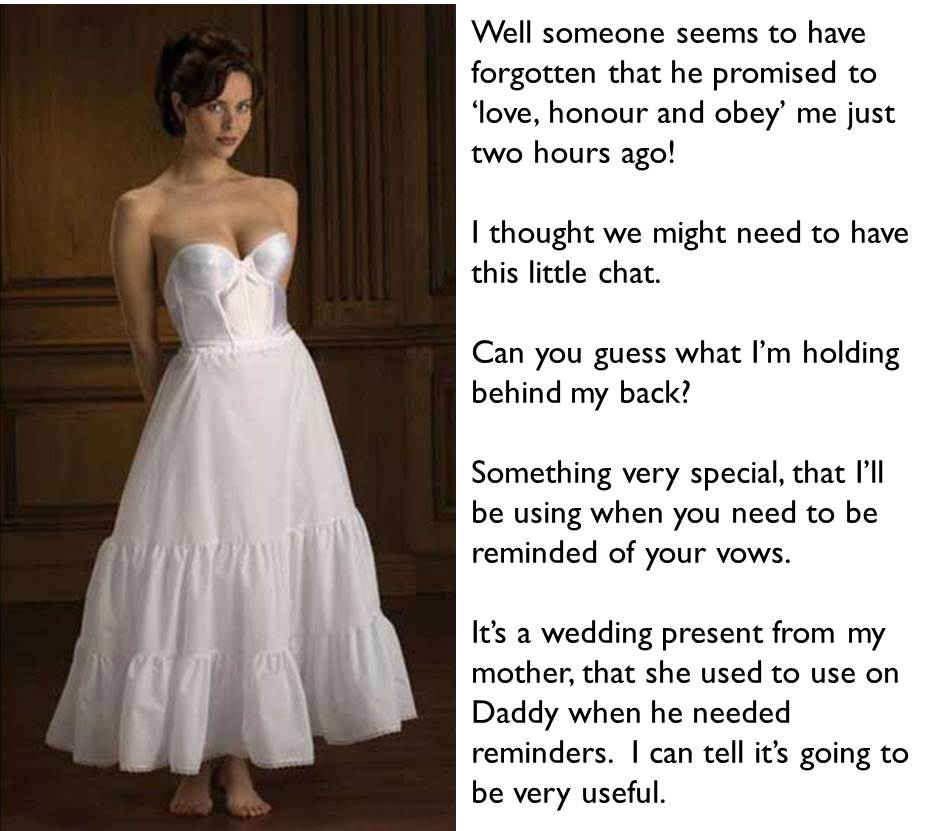 femdom caption bride threatening hsuband with unknown instrument of