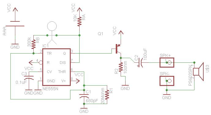 Esquema electrónico del circuito Drawdio para dibujar música