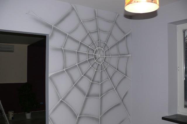 Malowanie spidermana w pokoju chłopca, Warszawa, malarstwo ścienne