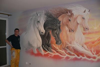 malowanie koni, Lublin, konie w galopie