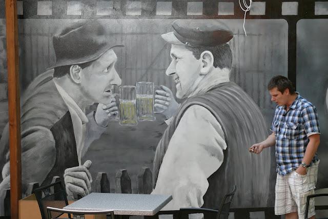 Aranżacja ścienny w barze, malarstwo ścienne, Warszawa