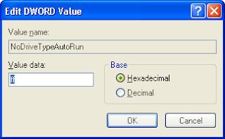 NoDriveTypeAutoRun Disable Autorun Registry Editor