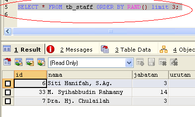 SQL Commands, Random Record